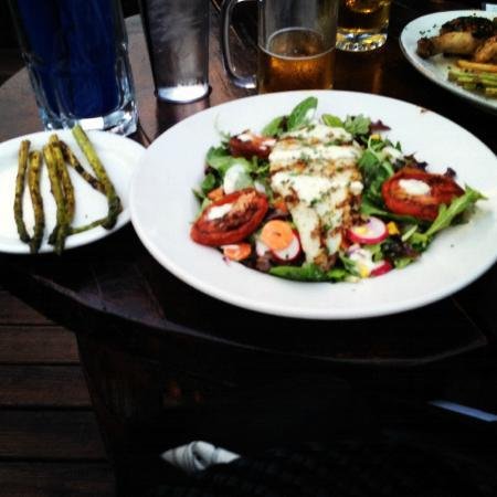 Biergartenhaus: Grilled Perch with Salad and Asparagus