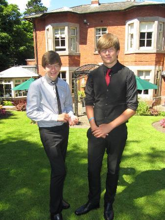 The Alexandra Court Hotel: Grandsons in the back garden,after wedding ceremony.