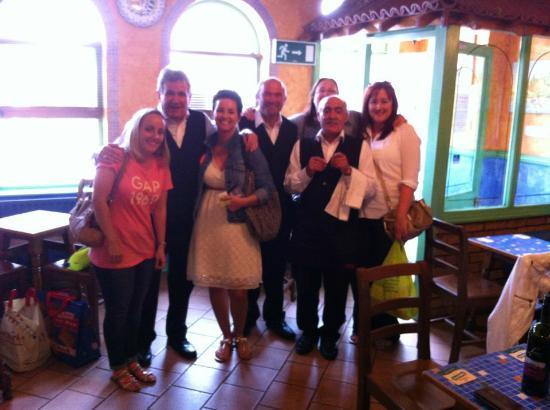 La Piazza II: The charming waiters and us girls.