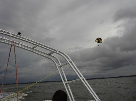 Dewey Beach Parasail: Parasailing out on the bay.