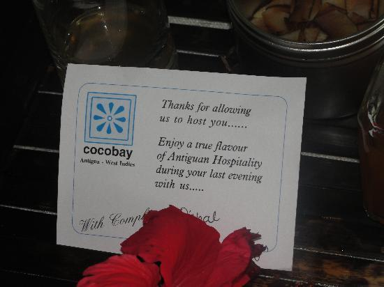 Cocobay Resort : Complimentary spiced home made rum, delivered to our room