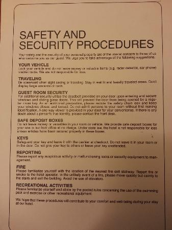 Holiday Inn Mississauga Toronto West: Safety Info on Nightstand