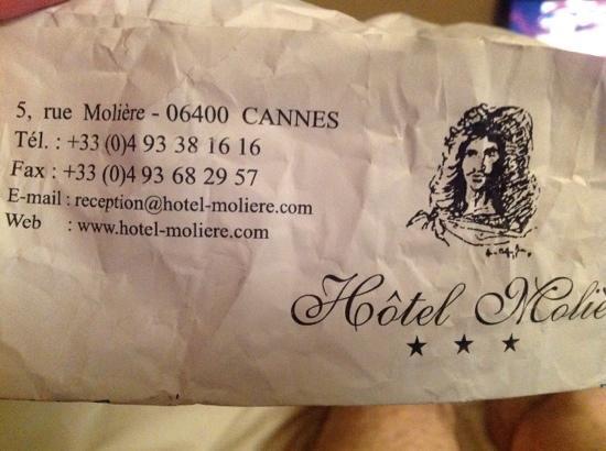 Hotel Moliere: a conta......sem valores