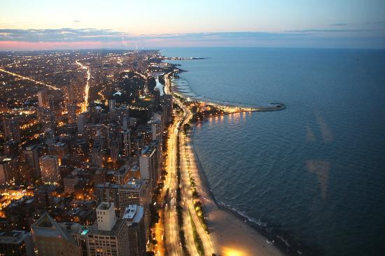 360 Chicago Observation Deck: View from within the observatory looking down on Ohio Beach