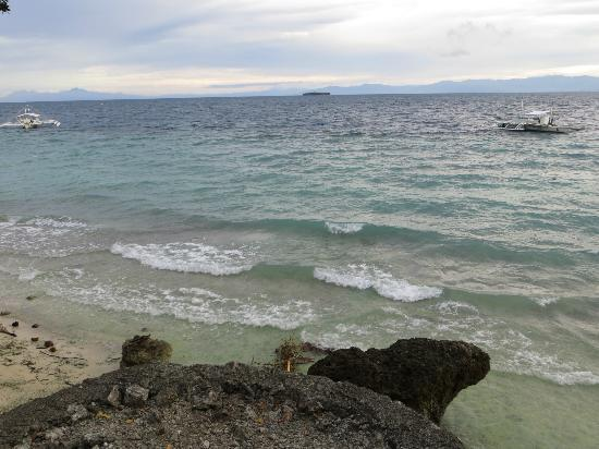 "Tipolo Beach Resort: Pescador Island (dark speck top middle) seen from the motel's ""beach"""