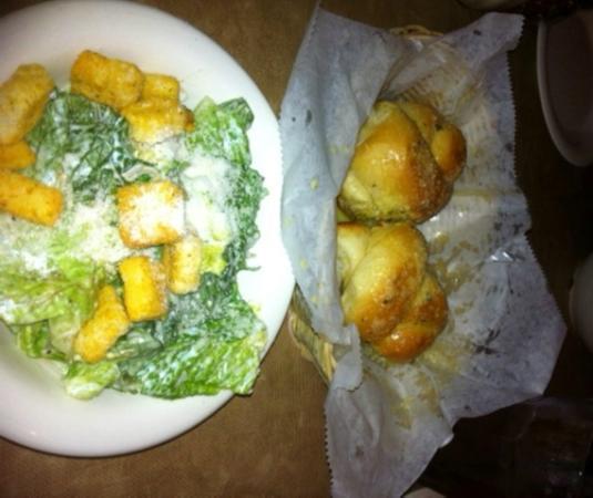 Italiano's Restaurant : Bread knots and caesar salad.