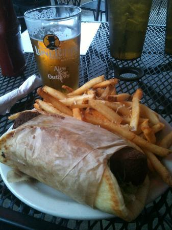 Universal Joint: Falafel wrap and local craft beer