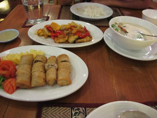 KR Hotel and Restaurant: Dinner frmo left ; Spring rolls, Fried fish in sweet & sour sauce and Chicken in milk sauce