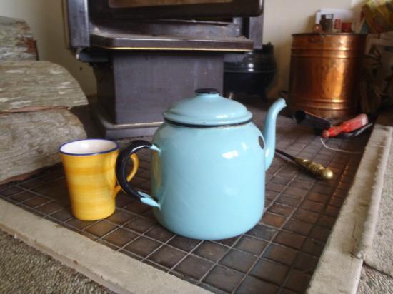 Redwood Lodge: Warm log burner, comfy couches and great tea pots!