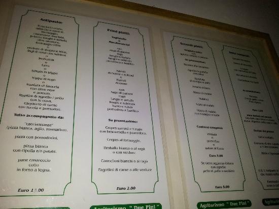 Montalto delle Marche, İtalya: Il menu