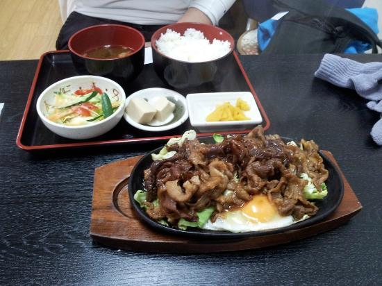 Manpukutei : Carne salteada tipo BBQ con todo su acompañamiento
