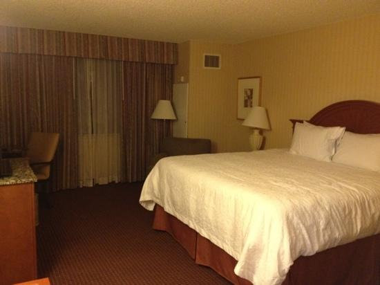 Hampton Inn NY - JFK: room with a huge and very tall bed
