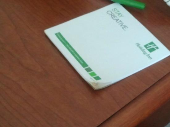 Holiday Inn Charlotte-University Place: The notepad had food on the corners, hmm. . . .