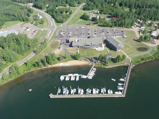 Red Cliff, WI: Arial photo of the grounds and marina