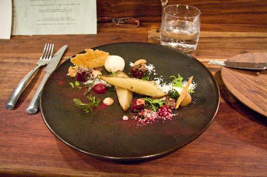 The Test Kitchen: Slow cooked sweet potatoes, goat cheese, olive & pine nut salsa, beetroot & apple purée, puff sh