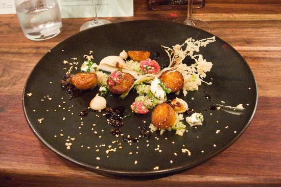 The Test Kitchen: Harief glazed nicola potatoes, white bean humus, ewe's milk labneh with dry fig & cinnamon jus