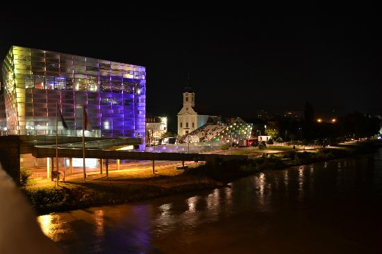 Ars Electronica Center seen from the bridge over Danube.