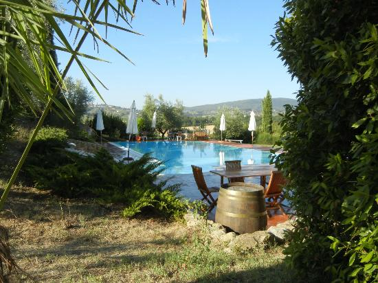 Tenuta Mormoraia: View of the pool towards San Gimignano