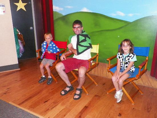 Muncie Children's Museum: The stage allowed the kids to dress up in all sorts of animal costumes.