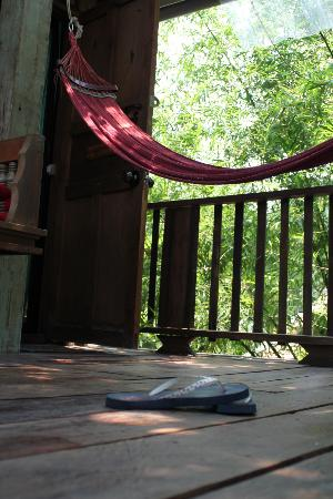 BaanBooLOo Village: Hammock outside a treehouse