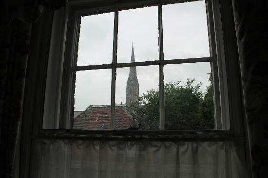 Cathedral View: The view of Salisbury Cathedral from our bedroom