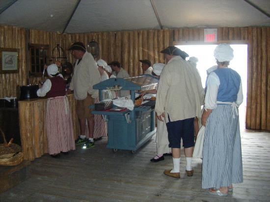 Point of View Suites at Louisbourg Gates: The line up for the start of the meal, everyone in costume
