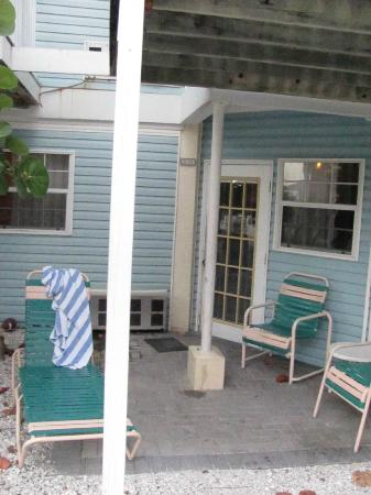 Coquina On The Beach: Patio area. Some have sliding glass doors