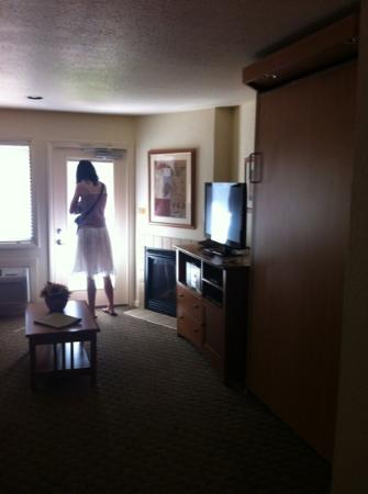 Shangri-la Resort: studio with murphy bed on right next to tv