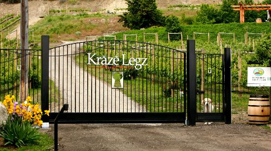 Kraze Legz Vineyard and Winery: The automatic gate at Kraze Legz Winery.
