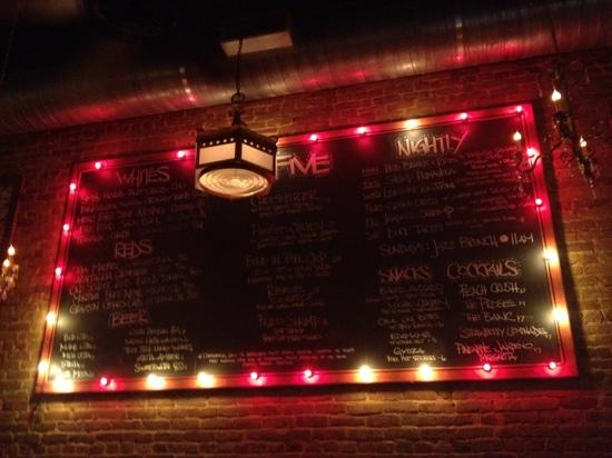 Five Bar: menu written on wall