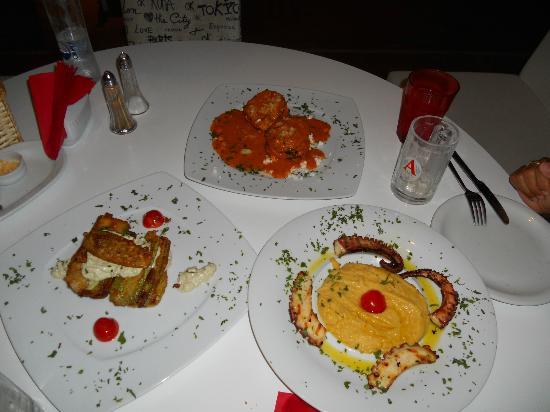 Liatero Marine: zucchini lasagna, grilled octopus, eggplants