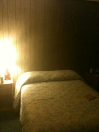 Grand View Inn and Cottages: Our double bed that we had to sleep head to toe in so we didn't fall into the middle