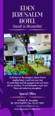 Eden Jerusalem Hotel: Flyer