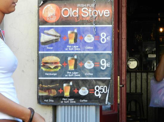 Old Stove: Il menu ed i prezzi