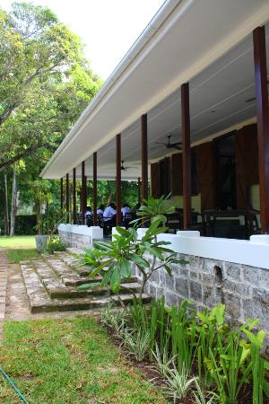 La Plaine St. Andre: Back patio with authentic coral rock steps leading into the beautifully landscaped garden.