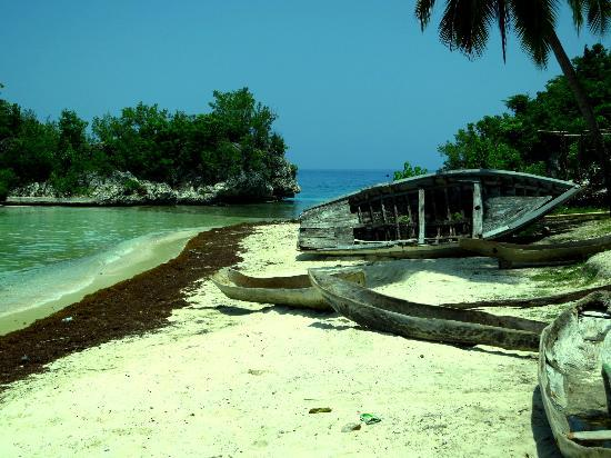 Petit Goave, Haiti: Fisherman's boat beached on the shore
