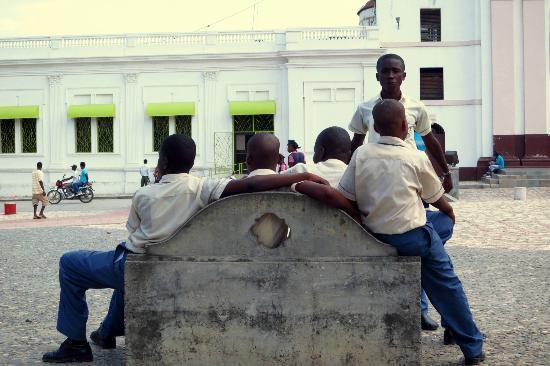 Cathedrale Notre Dame de Cap Haitien : School Children hanging out in the square