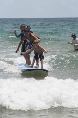 East Island Surfing Adventures: All 3 up on one board