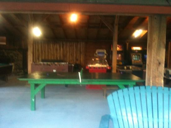 game room at Adirondack camping village- old games but classic and kids had blast!