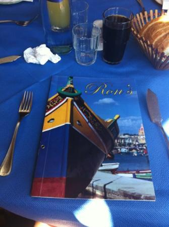 Ron's Restaurant: la carte