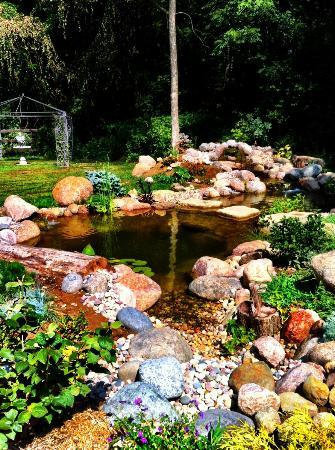 At Home In The Woods Bed And Breakfast: Backyard pond and waterfall