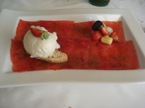 Restaurant La Cabana: carpaccio de pastèque avec glace au mojito
