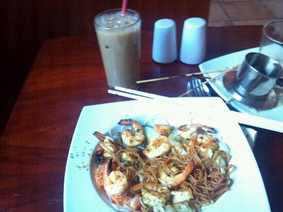 Uncle Ho's: Curry Shrimp with noodles and Vietnamese Iced Coffee