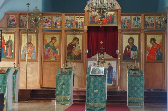 Holy Resurrection Russian Orthodox Church: Taken throught the glass in the front door.