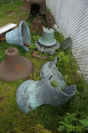 Holy Resurrection Russian Orthodox Church: Old broken bells outside the church. One had a date from the 1800's