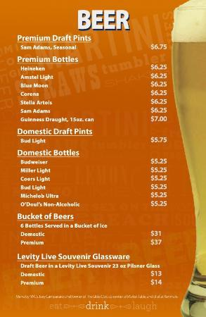 Beer Menu  Picture Of Levity Live Comedy Club West Nyack