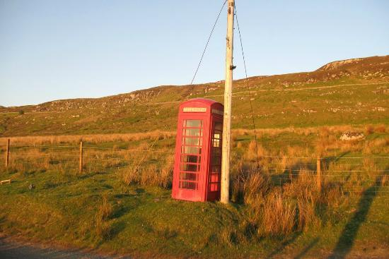 The Stables B&B: phone box near Castle Sween