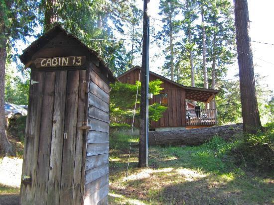 West Beach Resort: cabin 13 is actually a smokehouse, cabin 14 is behind