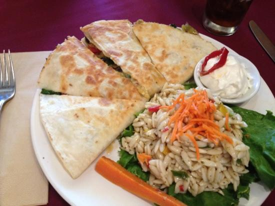 Weinhard Cafe & Bakery: veggie quesedilla with orzo pasta