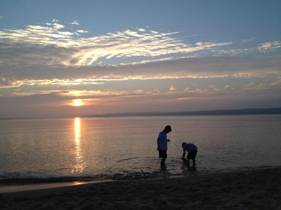 Sunset over Little Traverse Bay from the beach at Petoskey State Park